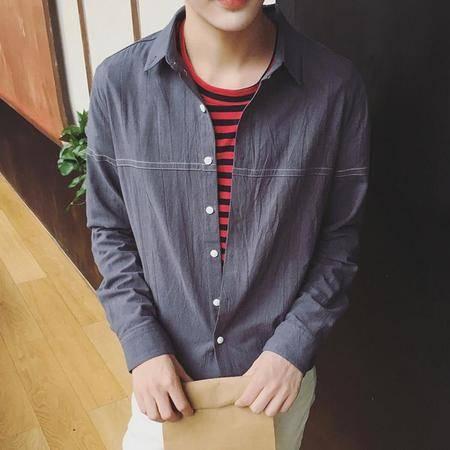 2016年新款男士韩版纽扣棉麻百搭长袖衬衫男潮