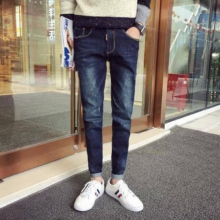 2016年春季新款韩版水洗男式牛仔裤修身长裤潮小脚裤