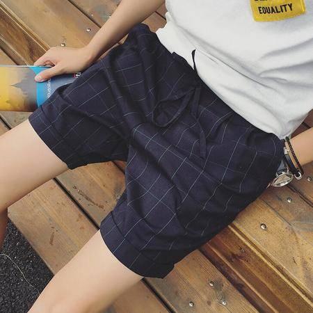 2016夏季新款复古格子短裤潮系绳韩版哈伦男士休闲短裤男