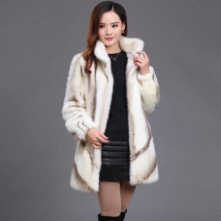 正品哥弟2016冬装新款女士高贵气质貂毛高档皮草外套