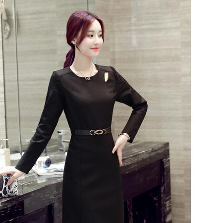 WZSY 2016年秋季时尚潮流修身简约大方优雅连衣裙纯色