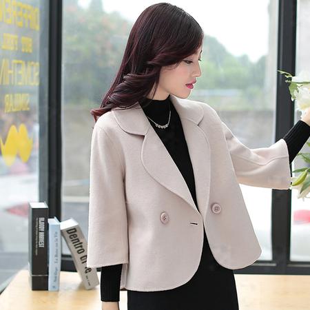 WZSY 纯色简约翻领2016秋季显瘦双排扣短款毛呢外套