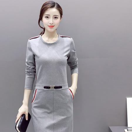 WZSY 中长款口袋2016年秋季一步裙圆领松紧腰套头纯色连衣裙