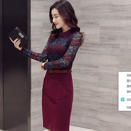 WZSY 蕾丝2016年秋季长袖中长款3D拼接一步裙圆领立体装饰H型