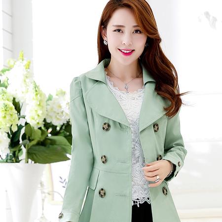 WZSY 纯色长袖中长款修身翻领简约时尚2016年秋季风衣