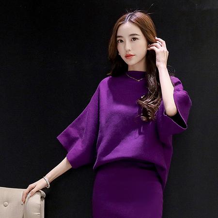 WZSY 宽松纯色圆领短袖简约时尚针织衫+中裙一步裙2016年秋季两件套
