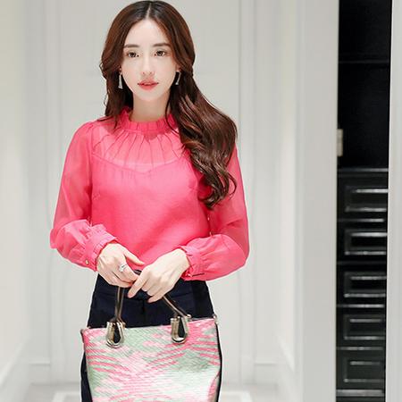 WZSY 套头宽松纯色半高领长袖2016年秋季蕾丝衫