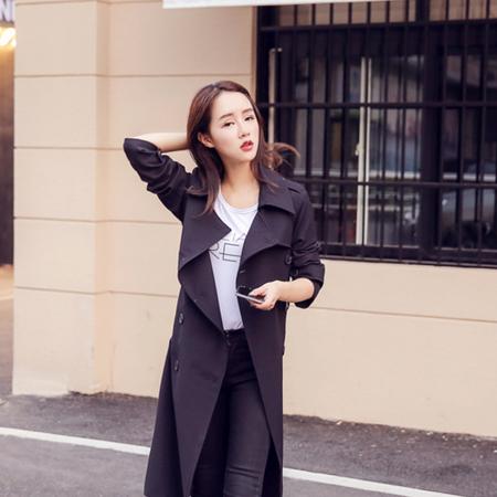 WZSY 双排扣西装领长袖长款修身纯色2016年秋季风衣