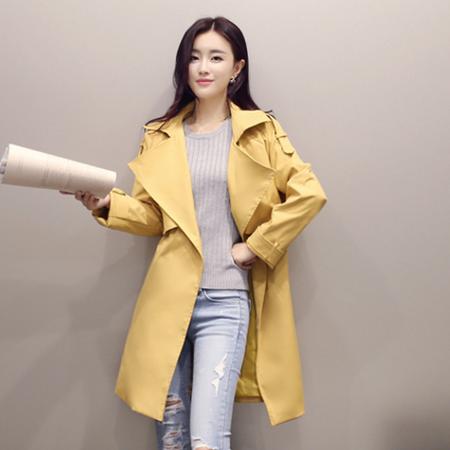 WZSY 翻领长袖中长款简约纯色时尚百搭气质2016年秋季风衣