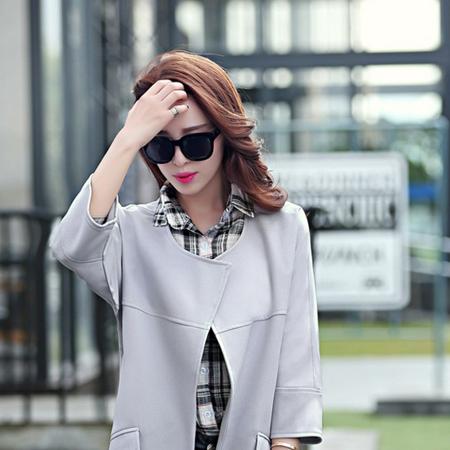 WZSY 圆领纯色风衣长袖常规中长款2016年秋季纯色