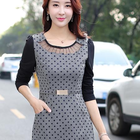WZSY 灰色透明长袖2016年秋季连衣裙