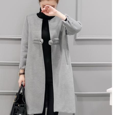 WZSY 一粒扣长袖2016年冬季中长款修身手工盘扣复古毛呢外套