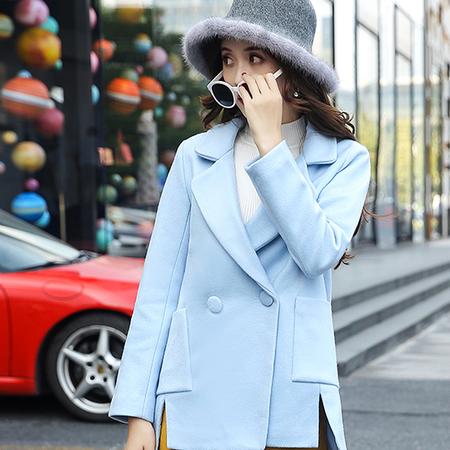WZSY 毛呢外套2016年冬季纯色长袖简约韩版百搭修身显瘦