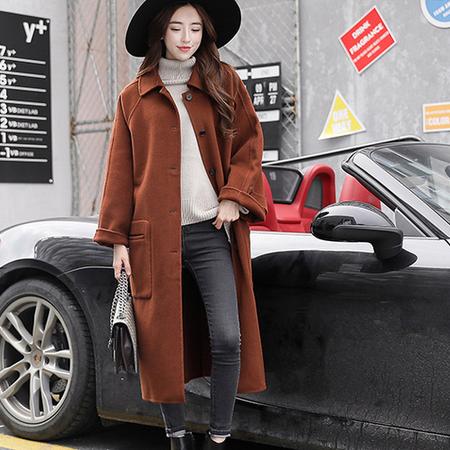 WZSY 长款直筒长袖2016年冬季单排扣时尚潮流西装领毛呢外套