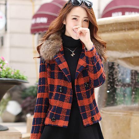 WZSY 2016年冬季格子经典显瘦时尚韩版气质长袖毛呢外套