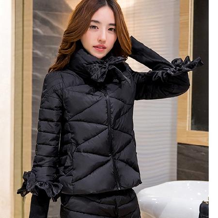 WZSY 时尚显瘦立领七分袖2016年冬季纯色拉链棉衣/棉服