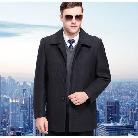 花花公子 正品新款2016冬装中老年保暖羊绒大衣外套爸爸装