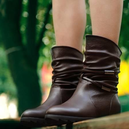 古奇天伦 中筒女靴 时尚可爱女鞋 加绒休闲鞋内增高靴子 733-2