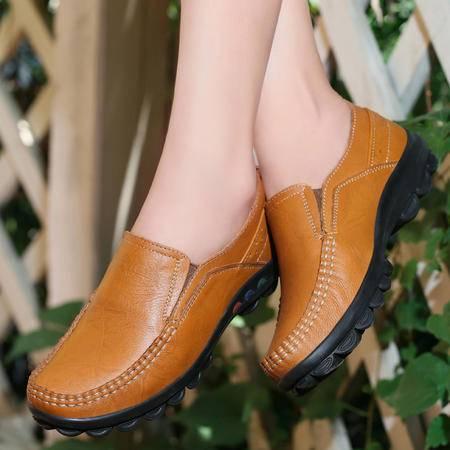 古奇天伦松紧带套脚牛皮女鞋单鞋平底鞋懒人鞋休闲鞋妈妈鞋7790
