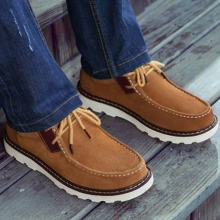 古奇天伦真皮男鞋磨砂皮鞋轻质舒适商务休闲鞋英伦低帮板鞋5575