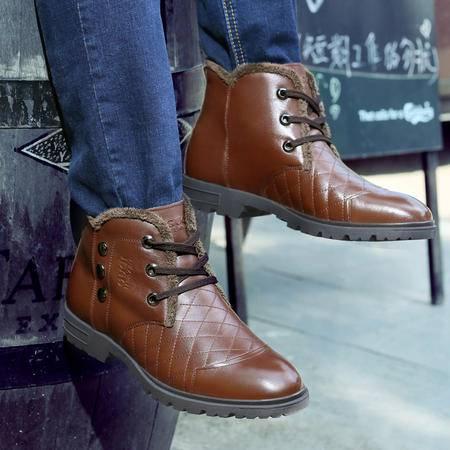 古奇天伦秋冬商务休闲鞋男鞋铆钉高帮皮鞋加绒保暖男棉鞋短靴男靴子