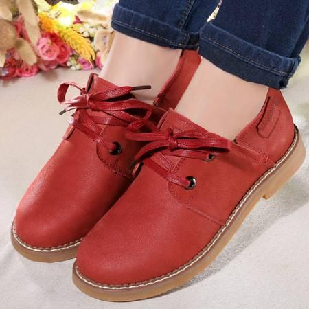 古奇天伦 复古单鞋子真皮皮鞋系带低帮休闲鞋女鞋 7805
