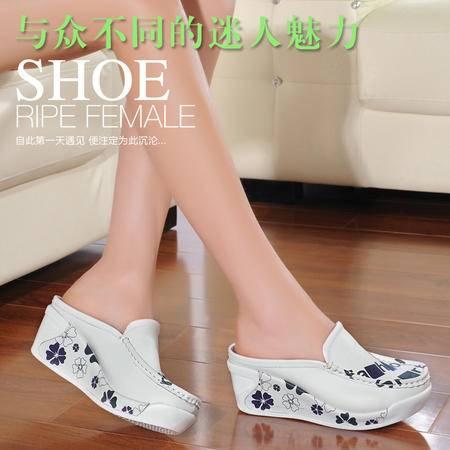 古奇天伦坡跟凉鞋女鞋子单鞋休闲拖鞋牛皮包头半拖鞋7101