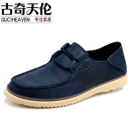 古奇天伦时尚英伦韩版真皮两用单鞋子日常休闲鞋板鞋男鞋5619