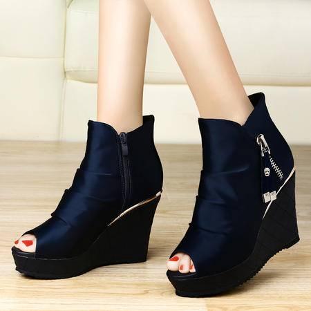 古奇天伦 罗马风防水台坡跟水钻女鞋鱼嘴高跟鞋松糕凉鞋子单鞋7917