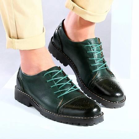 古奇天伦 新款男鞋布洛克休闲鞋潮流皮鞋板鞋 真皮皮鞋子男鞋