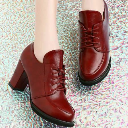 古奇天伦高跟单鞋性感粗跟春秋时尚防水台深口女鞋子皮鞋7885