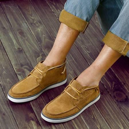 古奇天伦2014春季新款头层猪皮男鞋圆头休闲鞋中帮鞋系带板鞋子5605