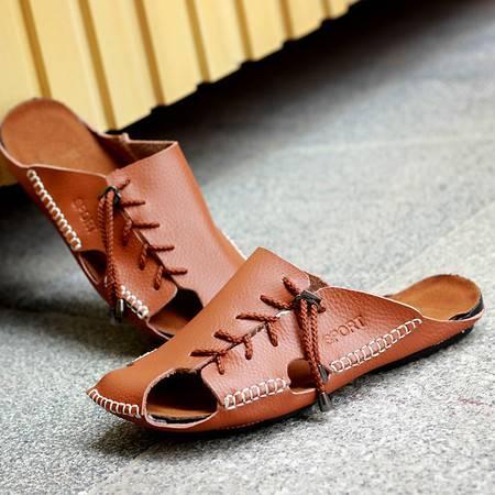clcoyote痴恋野狼男士休闲鞋透气鞋真皮包头男鞋平底拖鞋HR-281