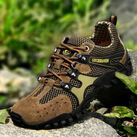 古奇天伦2014新款真皮平底户外运动鞋系带休闲鞋网布透气登山鞋流行男鞋子