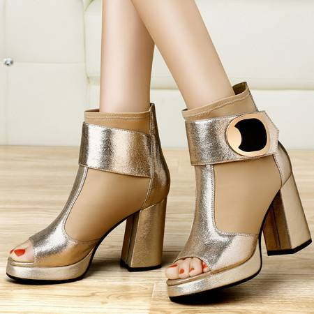 古奇天伦2014新款春季鱼嘴高跟鞋 粗跟单鞋防水台深口女鞋子