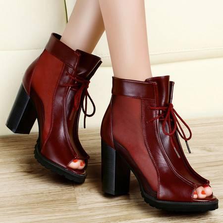 古奇天伦2014春夏新款欧美鱼嘴单鞋防水台粗跟女鞋子高跟凉鞋