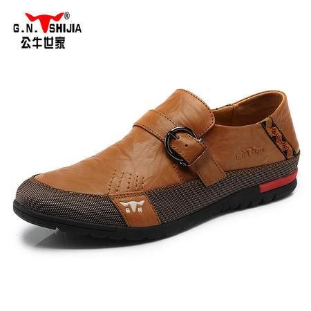 公牛世家男鞋春款复古皮鞋男士休闲鞋休闲鞋英伦板鞋潮鞋A35089135