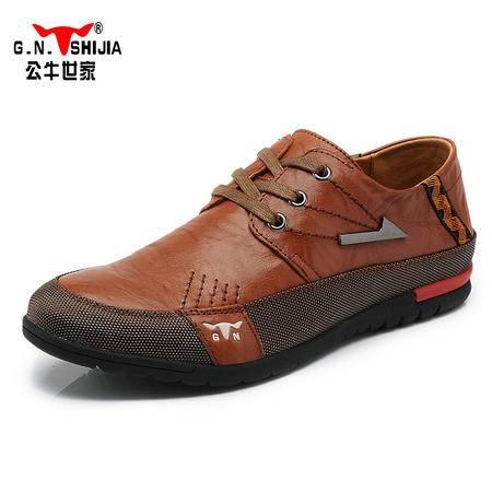 公牛世家男鞋春款休闲鞋英伦板鞋男士系带休闲鞋潮鞋复古皮鞋A35089133