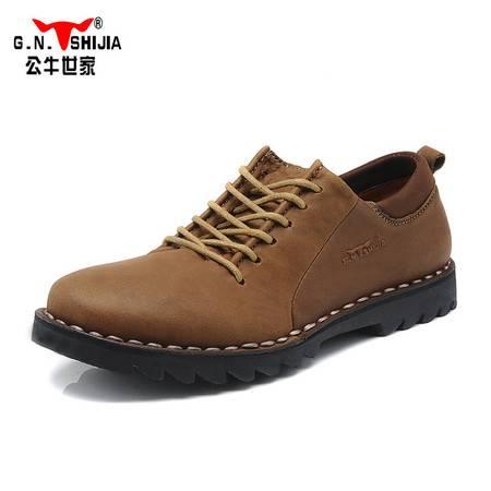 公牛世家春款男鞋英伦透气鞋板鞋男士休闲鞋皮鞋工装鞋真皮低帮鞋A2802239