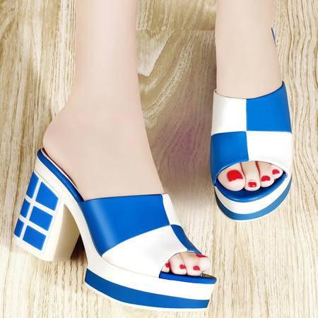 古奇天伦新款女凉拖鞋格子拼色方跟防水台高跟漆皮女鞋7985