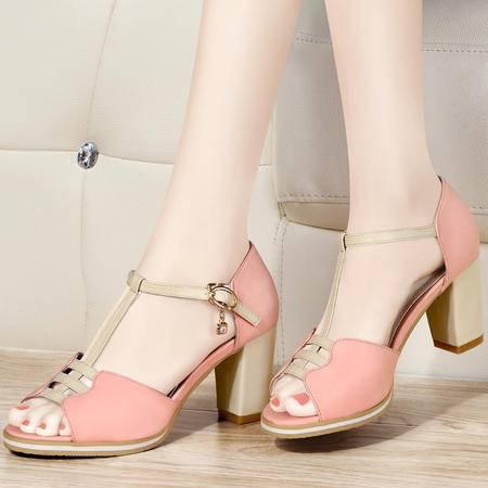 古奇天伦2014夏季新款女凉鞋鱼嘴鞋高跟包跟鞋粗跟镂空编织女鞋
