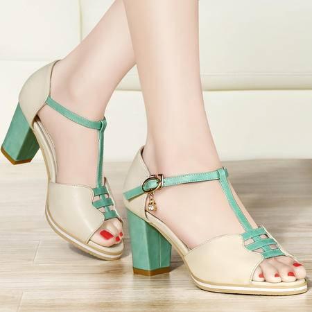 古奇天伦2014夏季新款女凉鞋鱼嘴鞋高跟包跟鞋粗跟镂空编织女鞋7995