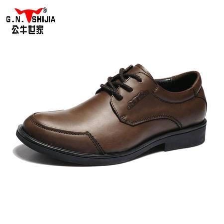 公牛世家低帮鞋真皮男鞋商务正装皮鞋英伦男士系带休闲鞋A0087560