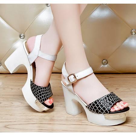 莱卡金顿夏季新款凉鞋真皮鱼嘴鞋防水台高跟粗跟方跟鳄鱼纹时尚女鞋LK-A1520
