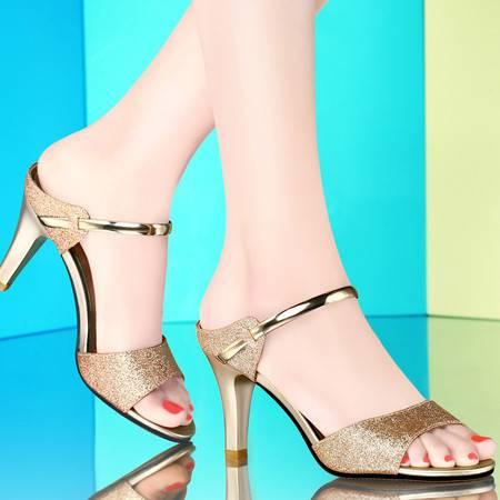 古奇天伦夏季新款女鞋鱼嘴透气凉鞋时尚一字金属扣高跟鞋拖鞋亮片OL女单鞋8009