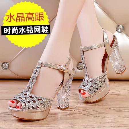 莱卡金顿2014夏新款粗跟防水台鱼嘴凉鞋女水晶跟水钻高跟鞋镂空透气女鞋LK-A1526