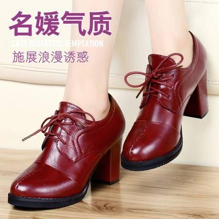 古奇天伦新款高跟鞋女鞋春秋季时尚韩版休闲鞋系带粗跟低帮鞋单鞋
