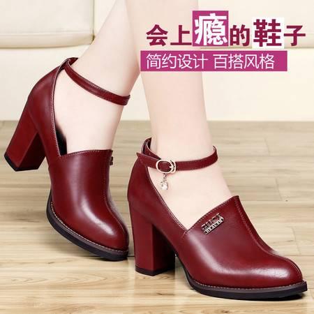 古奇天伦秋季单鞋新款绑带粗跟高跟鞋低帮休闲鞋时尚女鞋单鞋