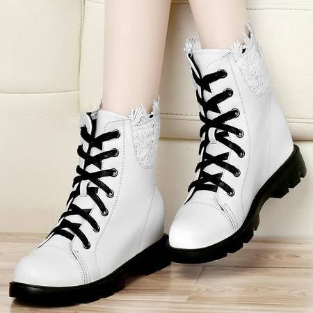 古奇天伦秋冬新款蕾丝边女鞋内增高女靴子休闲鞋高帮鞋子短靴子