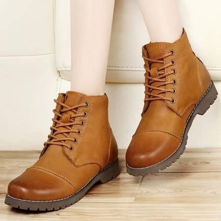 古奇天伦2014秋冬女靴子真皮马丁靴平底短靴头层牛皮加绒系带女鞋